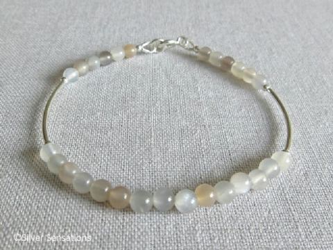 Natural Peach & Grey Moonstone Beaded Sterling Silver Bracelet